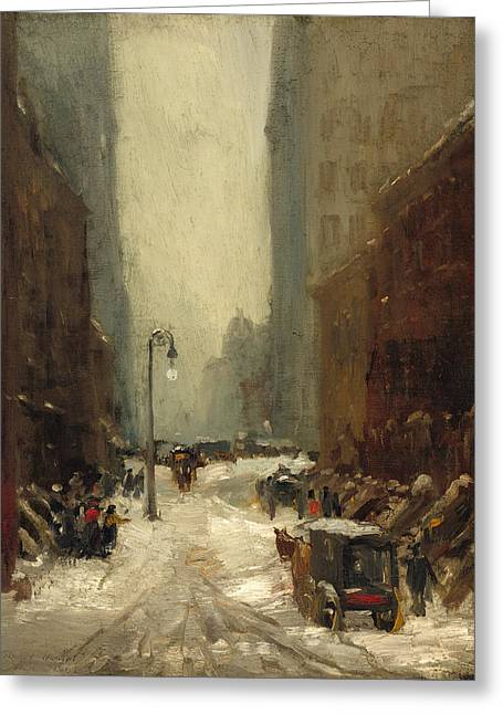Snow In New York Greeting Card by Robert Henri