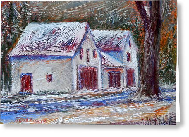 Snowy Roads Pastels Greeting Cards - Snow Storm Greeting Card by Joyce A Guariglia
