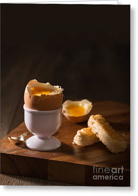 Crumbs Greeting Cards - Soft Boiled Egg Greeting Card by Amanda And Christopher Elwell