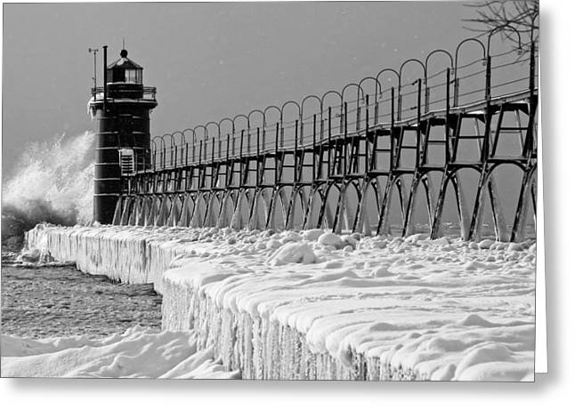 Wintry Greeting Cards - South Haven Lighthouse On Frigid Lake Michigan Greeting Card by Benno Bok