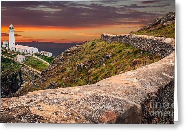 South Stack Lighthouse Greeting Card by Adrian Evans