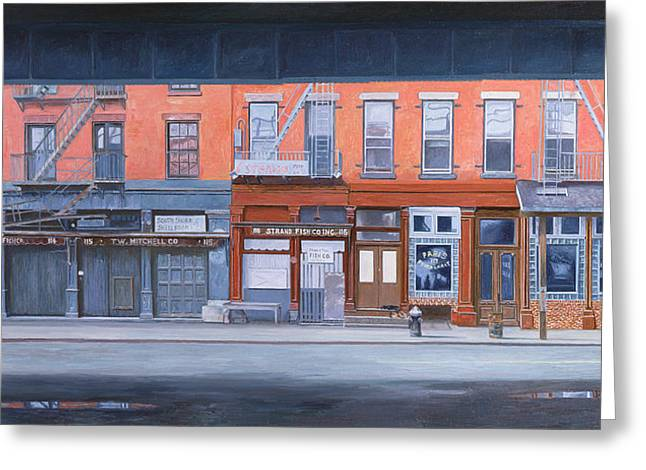 Puddle Paintings Greeting Cards - South Street Greeting Card by Anthony Butera