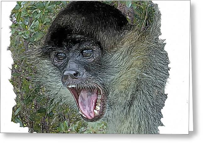 Spider Digital Art Greeting Cards - Spider Monkey Greeting Card by Larry Linton