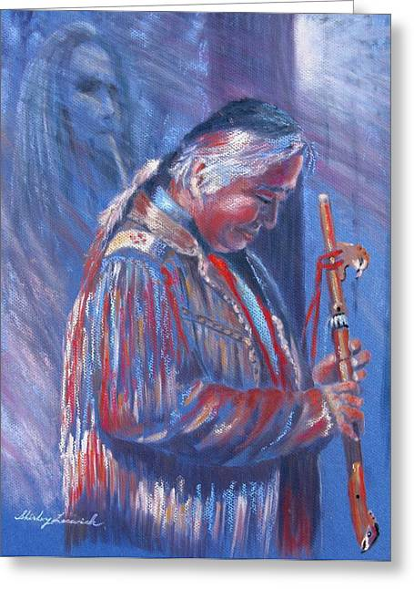 Flautist Greeting Cards - Spirit of the Forest Greeting Card by Shirley Leswick