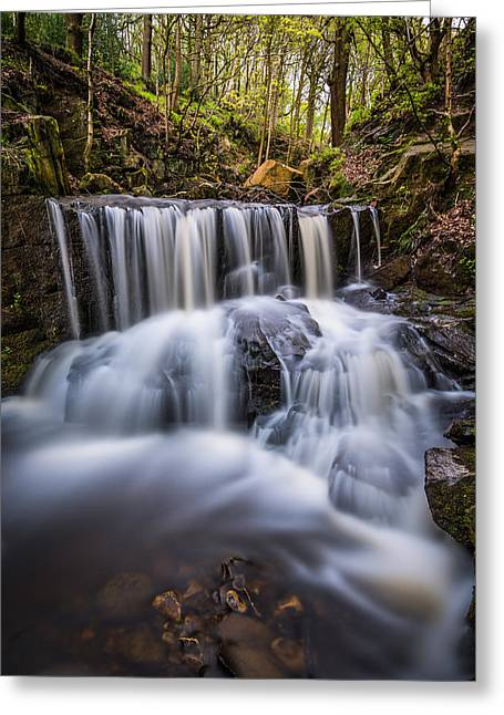 Motion Greeting Cards - Spring Waterfall In A Remote Peaceful Forest. Greeting Card by Daniel Kay