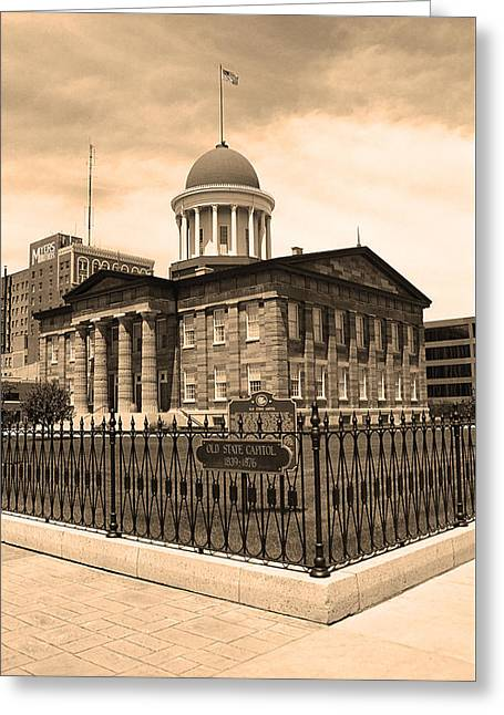 Barack Greeting Cards - Springfield Illinois - Old State Capitol Greeting Card by Frank Romeo