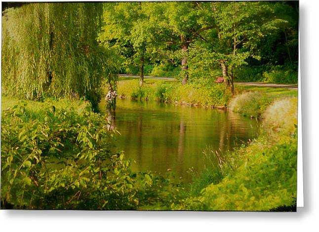 Pa Mixed Media Greeting Cards - Spruce Creek great fishing in Pa Greeting Card by Heinz G Mielke