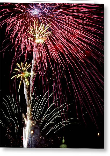 Fire Works Pyrography Greeting Cards - St. Paul Cathedral -London. Greeting Card by Cyril Jayant