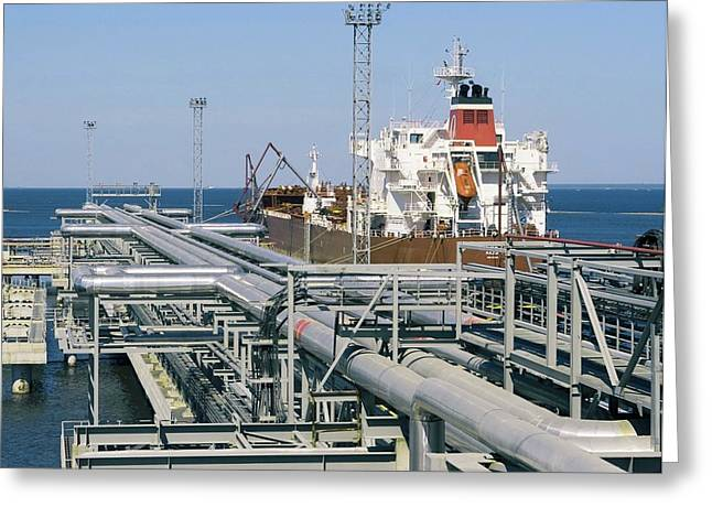 Pipeline Photographs Greeting Cards - St Petersburg Oil Terminal, Russia Greeting Card by Ria Novosti