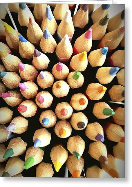 Multi-color Greeting Cards - Stack Of Colored Pencils Greeting Card by Bernard Jaubert