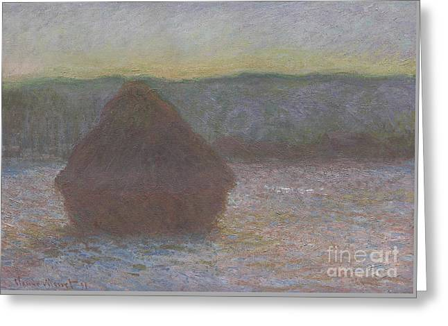 Stack Of Wheat, Thaw, Sunset Greeting Card by Claude Monet