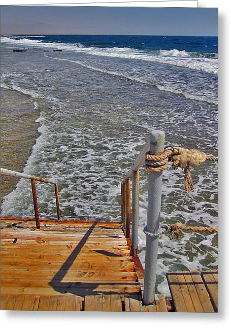 Mccoy Greeting Cards - Stairway To The Sea. Sea. Rusty Iron And Corals. Greeting Card by Andy Za