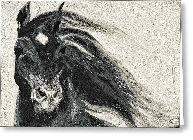 Winter Storm Greeting Cards - Stallion in Winter Greeting Card by Terry Fiala
