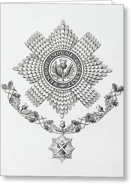 Knighthood Drawings Greeting Cards - Star, Collar And Badge Of The Order Of Greeting Card by Ken Welsh