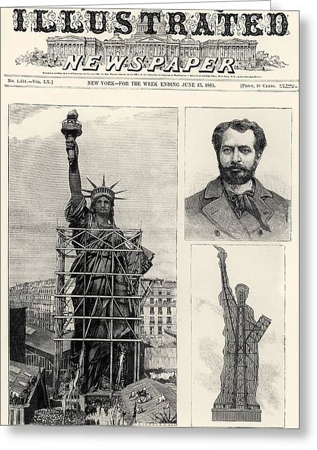 Bartholdi Greeting Cards - Statue Of Liberty, 1885 Greeting Card by Granger