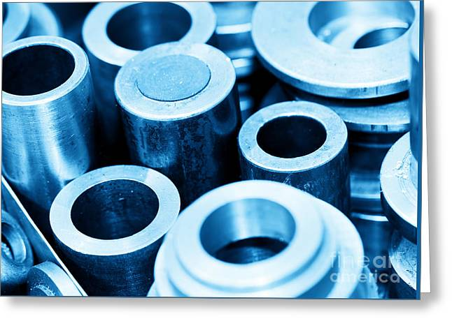 Cnc Greeting Cards - Steel cylinders pistons and tools in workshop Greeting Card by Michal Bednarek