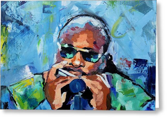 Stevie Wonder Greeting Card by Richard Day