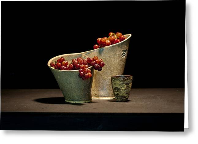 Sculpture. Ceramics Greeting Cards - Still Life with Grapes Greeting Card by William Sulit