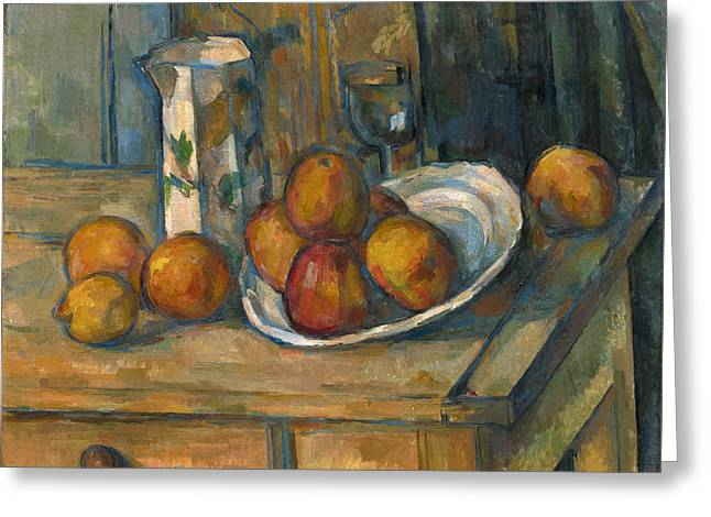 Water Jug Greeting Cards - Still Life With Milk Jug And Fruit Greeting Card by Paul Cezanne