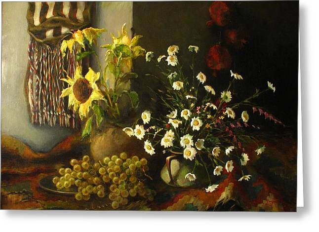Still-life With Sunflowers Greeting Card by Tigran Ghulyan