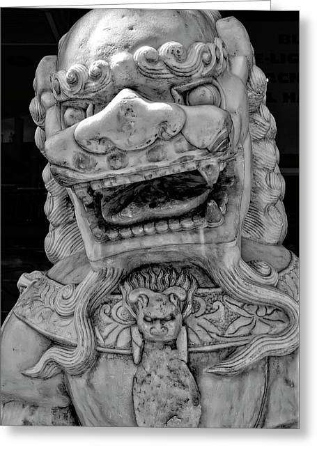 Stone Lion Chinatown Nyc Greeting Card by Robert Ullmann
