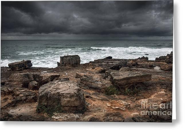 Stormy Seascape Greeting Card by Carlos Caetano