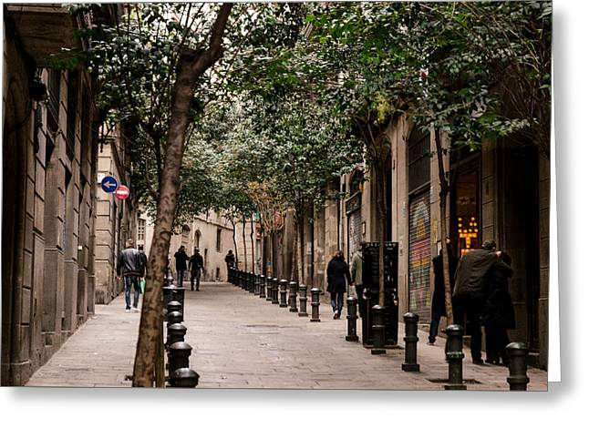 Streetlight Greeting Cards - Streets of Barcelona Greeting Card by Andrea Mazzocchetti