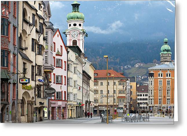 Ski Jump Greeting Cards - Streets of Innsbruck Greeting Card by Andre Goncalves