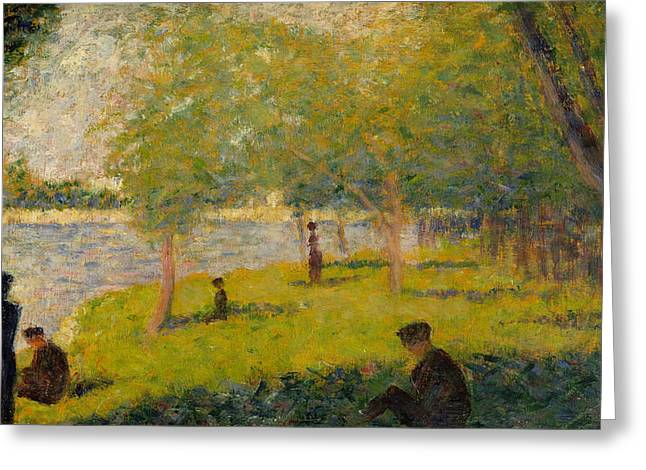 Edge Greeting Cards - Study for Sunday Afternoon on the Island of La Grand Jatte Greeting Card by Georges Pierre Seurat