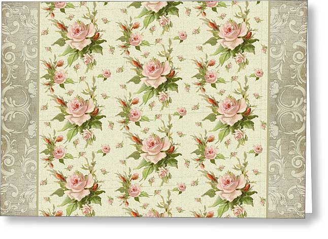 Flower Blossom Greeting Cards - Summer at Cape May - Aged Modern Roses Pattern Greeting Card by Audrey Jeanne Roberts