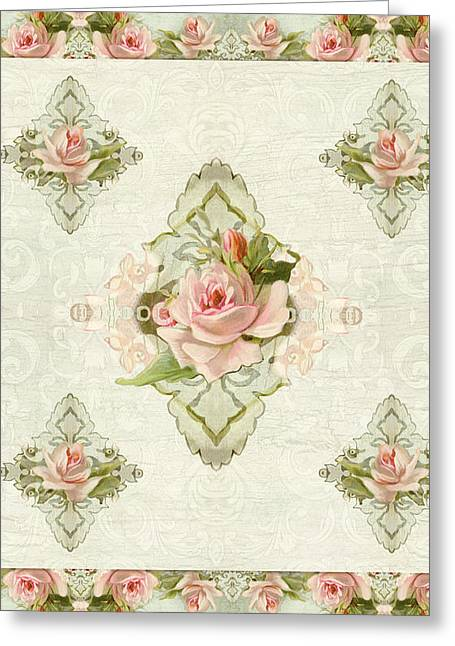 Vintage Style Greeting Cards - Summer at the Cottage - Vintage Style Damask Roses Greeting Card by Audrey Jeanne Roberts