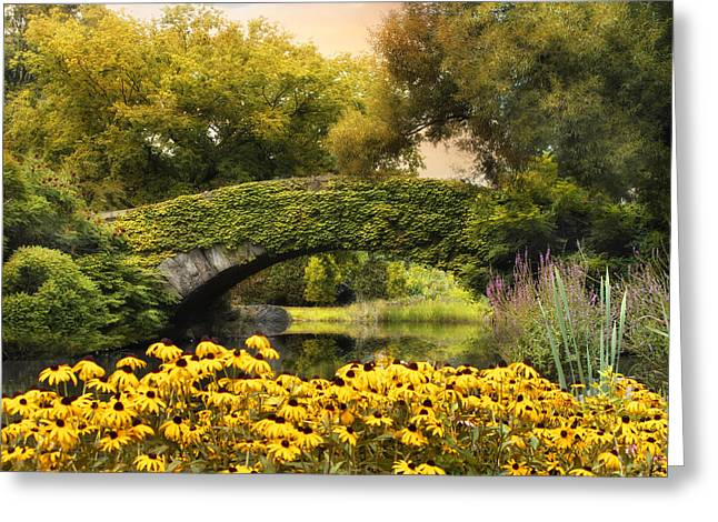 Gapstow Bridge Greeting Cards - Summer in the City Greeting Card by Jessica Jenney