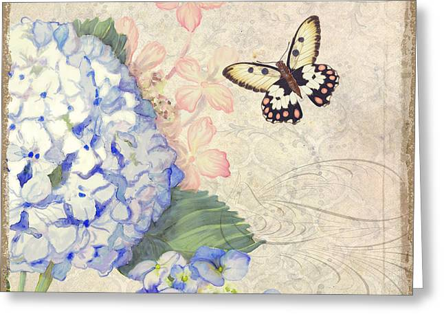 Handwritten Greeting Cards - Summer Memories - Blue Hydrangea n Butterflies Greeting Card by Audrey Jeanne Roberts