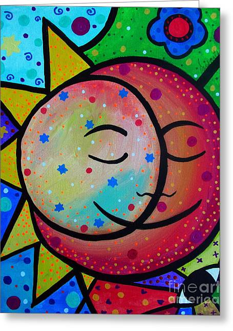 Best Seller Greeting Cards - Sun And Moon Couple Greeting Card by Pristine Cartera Turkus