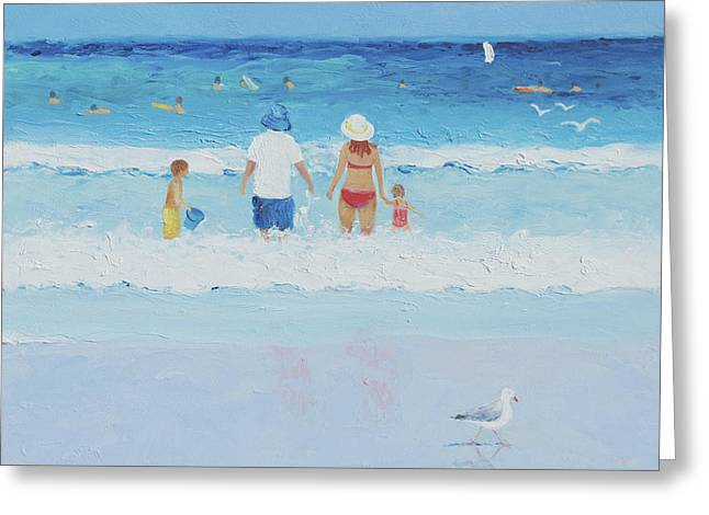 People At The Beach Greeting Cards - Sunday at the beach Greeting Card by Jan Matson