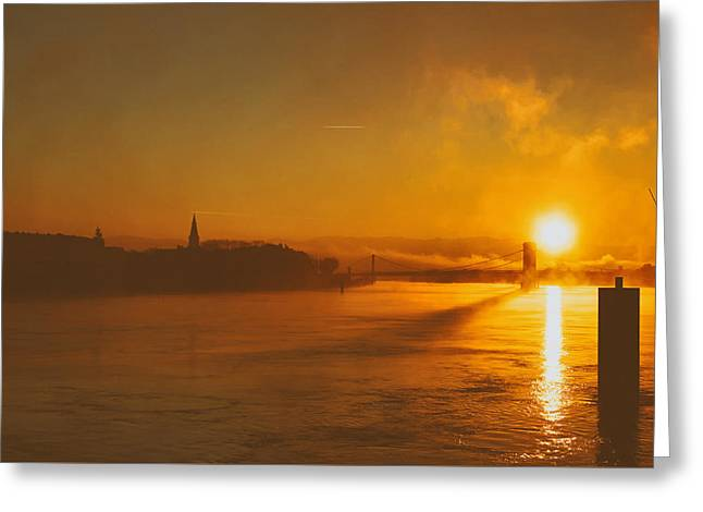 Analog Greeting Cards - Sunrise Fire Greeting Card by Moonbee