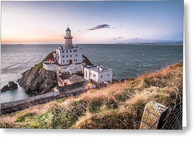 Leading Lines Greeting Cards - Sunrise in Baily lighthouse Dublin Ireland Greeting Card by Giuseppe Milo