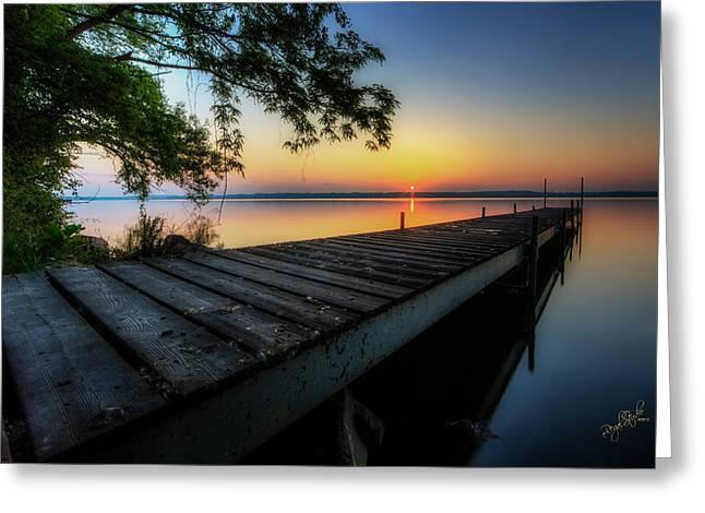 Sunrise Greeting Cards - Sunrise over Cayuga Lake Greeting Card by Everet Regal