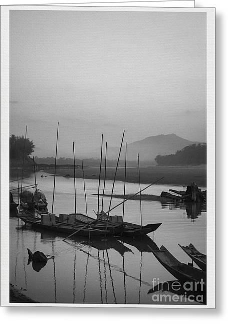 Contours Greeting Cards - sunset at Mae Khong river Greeting Card by Setsiri Silapasuwanchai