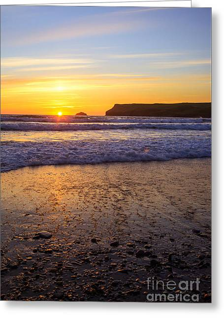Cornwall Greeting Cards - Sunset At Polzeath Greeting Card by Amanda And Christopher Elwell
