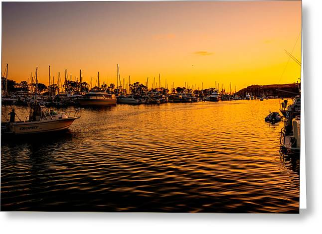 Boats At Dock Greeting Cards - Sunset in Harbor Greeting Card by Manuela Durson