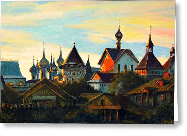 Church Pillars Paintings Greeting Cards - Sunset in Rostov Greeting Card by Henryk Gorecki