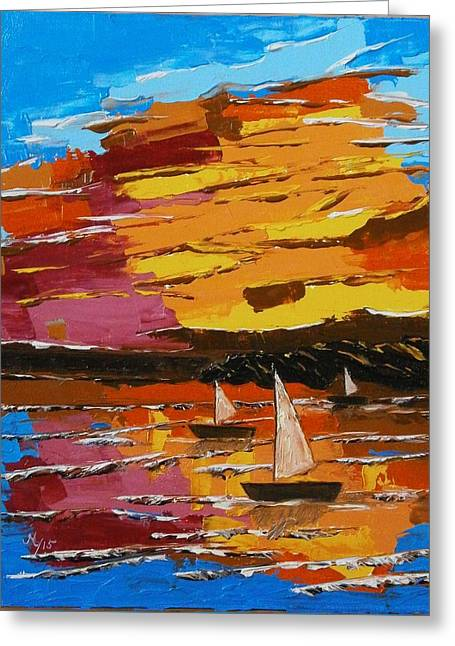 Yellow Sailboats Greeting Cards - Sunset Greeting Card by Maria Woithofer