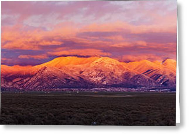 Sunset Over Mountain Range, Sangre De Greeting Card by Panoramic Images