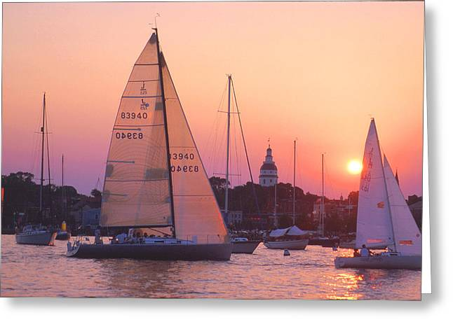 Ego Greeting Cards - Sunset Sail Greeting Card by Paul Pobiak