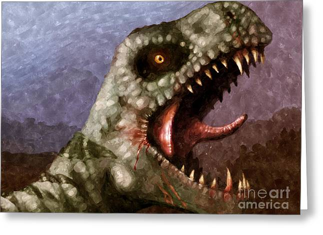 Dinosaurs Greeting Cards - T-Rex  Greeting Card by Pixel  Chimp