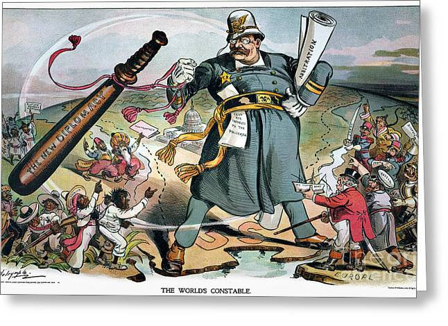 Police Baton Greeting Cards - T. Roosevelt Cartoon Greeting Card by Granger