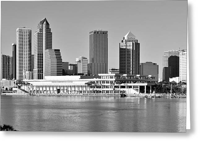 Buccaneer Greeting Cards - Tampa Bay Black and White Greeting Card by Frozen in Time Fine Art Photography