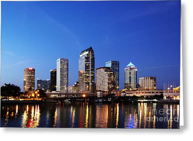 Office Space Greeting Cards - Tampa Skyline Greeting Card by Skip Nall