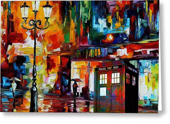 Police Art Greeting Cards - Tardis Art Painting Greeting Card by Koko Priyanto
